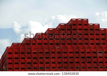stacked beer bottle crates
