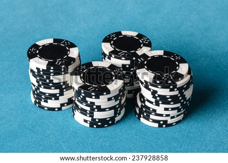 Stacked Black and White Poker Chips