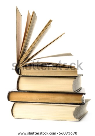 stacked books are isolated on white - stock photo