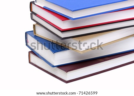 Stacked books isolated on a white background