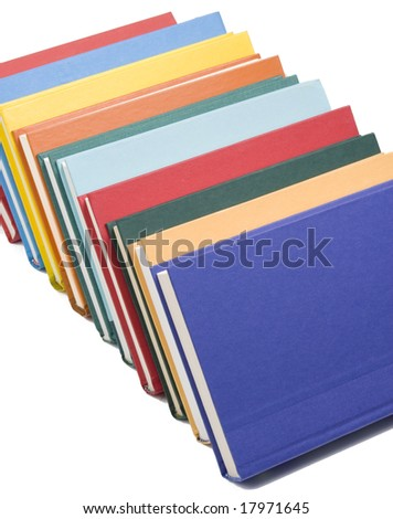 Stacked books on white background