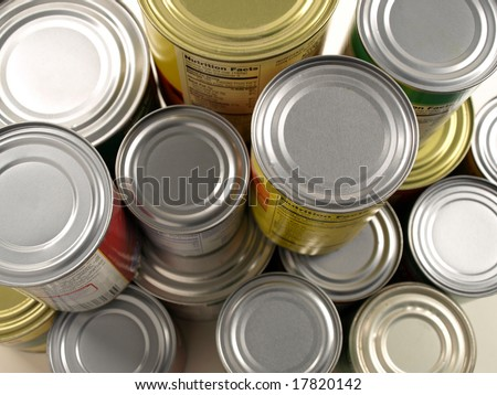 Stacked Cans of Food - stock photo