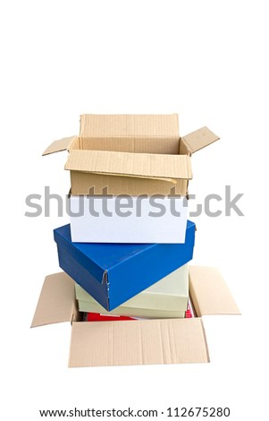 Stacked cardboard boxes - stock photo
