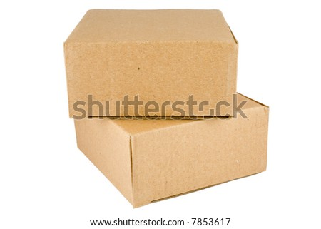 Stacked Cardboard Boxes isolated on a white background - stock photo