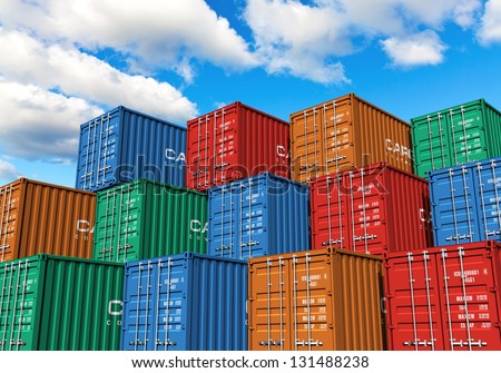 Stacked cargo containers in storage area of freight sea port terminal - stock photo
