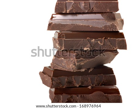 stacked chocolate pieces in light back