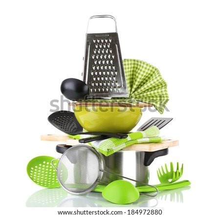 Stacked cooking equipment isolated  on white - stock photo