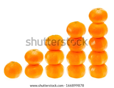 Stacked fresh mandarin citrus isolated tangerine mandarine orange in stack on white background. Healthy food concept - stock photo