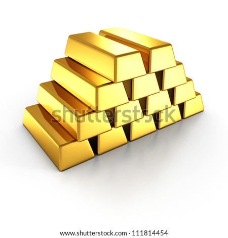 stacked golden bars on white background - stock photo