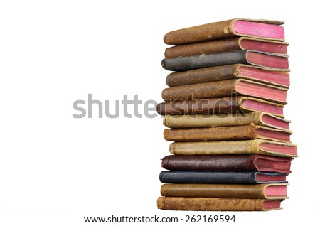 Stacked Leather Bound Books, Isolated - stock photo