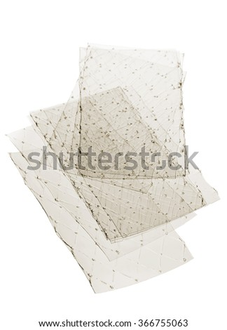 Stacked leaves of gelatine on white background