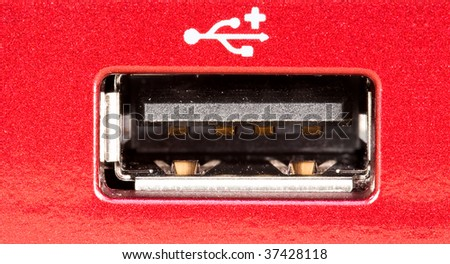 Stacked macro of a usb port for good enhanced depth of field - stock photo
