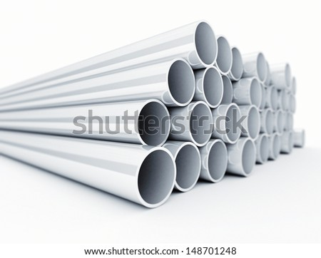 Stacked metallic tubes  - stock photo