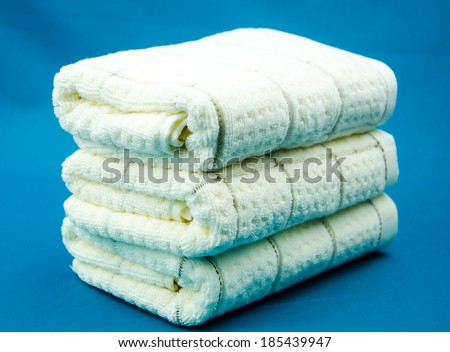 Stacked neatly in the towel