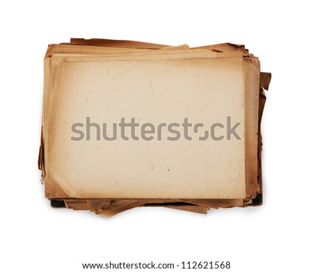 Stacked old paper. Paper used is actually over 60 years old. - stock photo