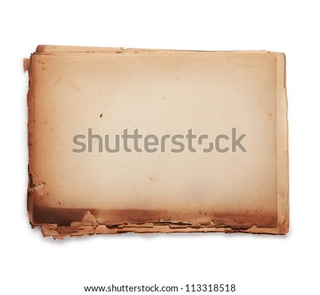 Stacked old paper. Paper used is actually over 60 years old. edges are dry and disintegrating,. - stock photo