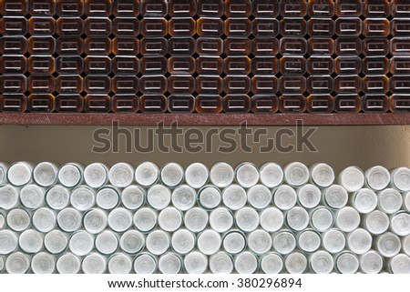 Stacked pharmaceutical bottles  - stock photo