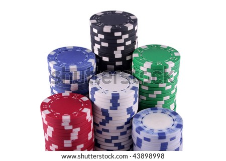 Stacked poker chips isolated on white