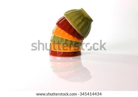 stacked porcelain - stock photo