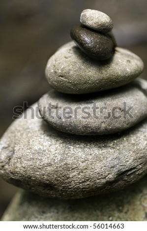 Stacked River Stones - symbolizing balance and harmony - stock photo