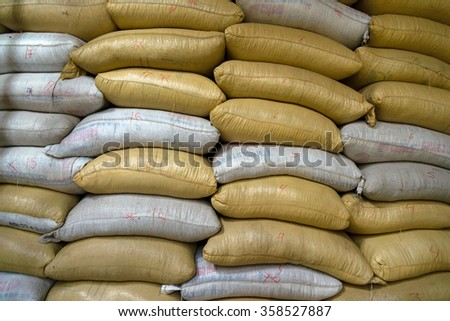 Stacked sacks of different color