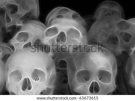 Stacked Skulls A fractal filtered image of stacked human skulls. Horizontal. - stock photo