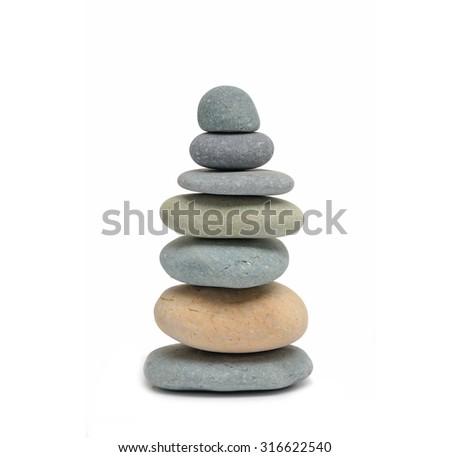 Stacked stone isolated - stock photo
