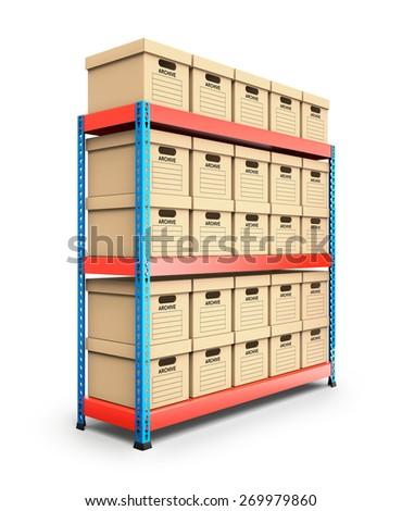 Stacked storage boxes - stock photo