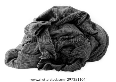 stacked used shirt isolate on white with clipping path - stock photo