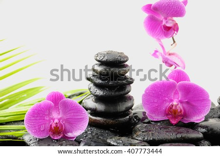 Stacked wet stones and pink orchid with palm leaf on dew - stock photo