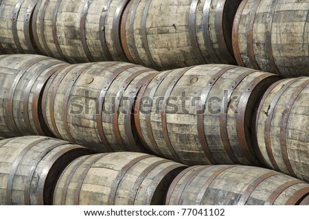 stacked whiskey barrels