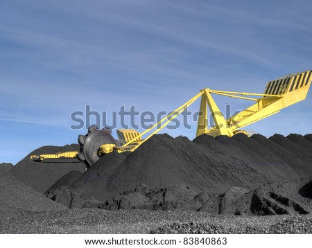 Stacker- reclaimer at coal terminal in Port of - stock photo
