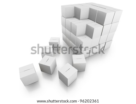 Stacking Cardboard Boxes in a Tidy Stack with a White on White Theme