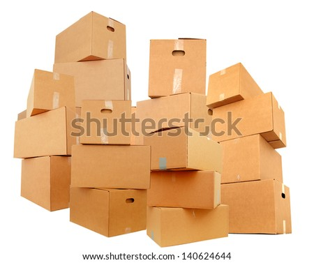 Stacking cardboard boxes, isolated white background
