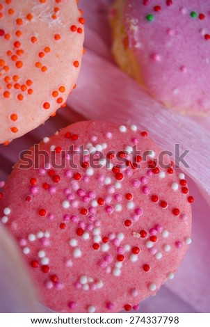 Stacking small cute cupcakes in vintage style - stock photo