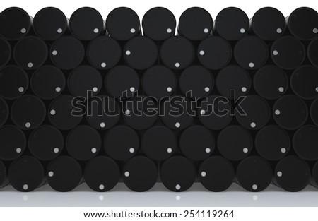 Stacks black barrel of oil on white floor. 3D render background - stock photo