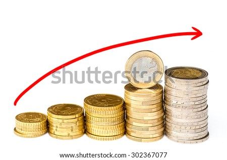 Stacks chart of gold coins isolated on white background