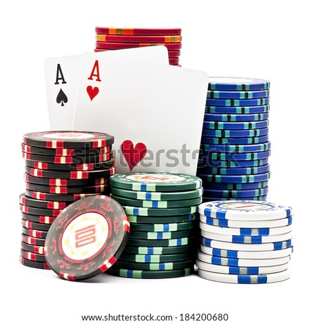 Stacks colored poker chips with two aces  isolated over white background  - stock photo