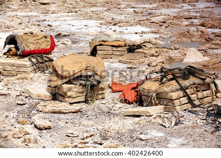 Stacks of amole-salt slabs of the ganfur-4 kg.size ready to be loaded on dromedary camels and donkeys to transport them to Berahile town 75 kms.away across the Danakil desert. Afar region-Ethiopia. - stock photo
