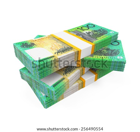 Stacks of 100 Australian Dollar Banknotes - stock photo