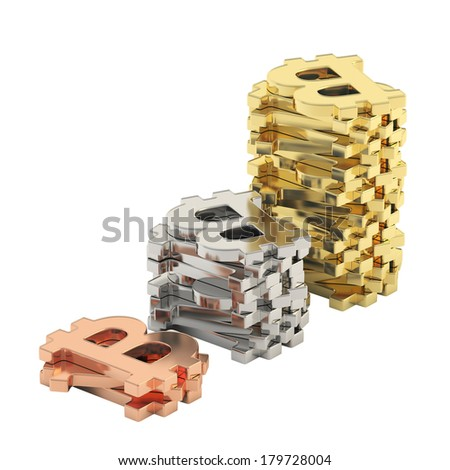 Stacks of bitcoin signs arranged in a growing graph composition, isolated over white background - stock photo