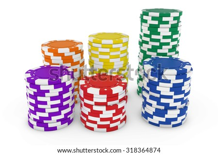 Stacks of Brightly Coloured Casino Chips isolated on white