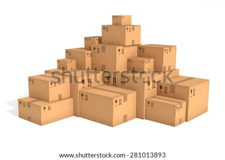 Stacks of cardboard boxes isolated on white background. Retail, logistics, delivery and storage concept. Side view with perspective.