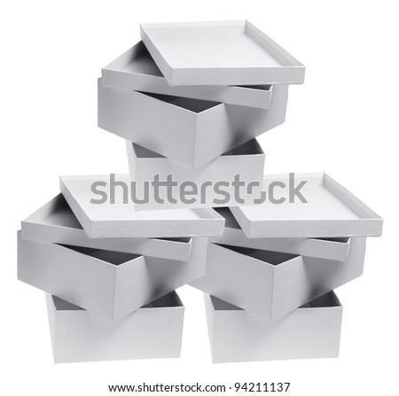 Stacks of Cardboard Boxes on White Background