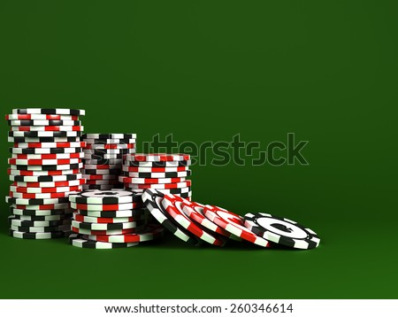 Stacks of casino chips - stock photo