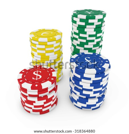 Stacks of Casino Chips with Currency Symbols isolated on white