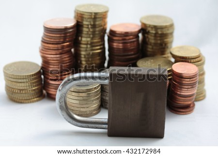 Stacks of coins and a lock to express the financial market is closed - stock photo