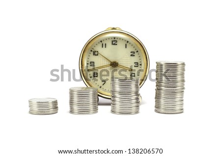stacks of coins and clock on a white a background