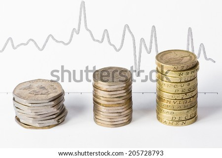 Stacks of coins and graphic