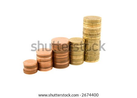Stacks of coins building an upward graph isolated on white